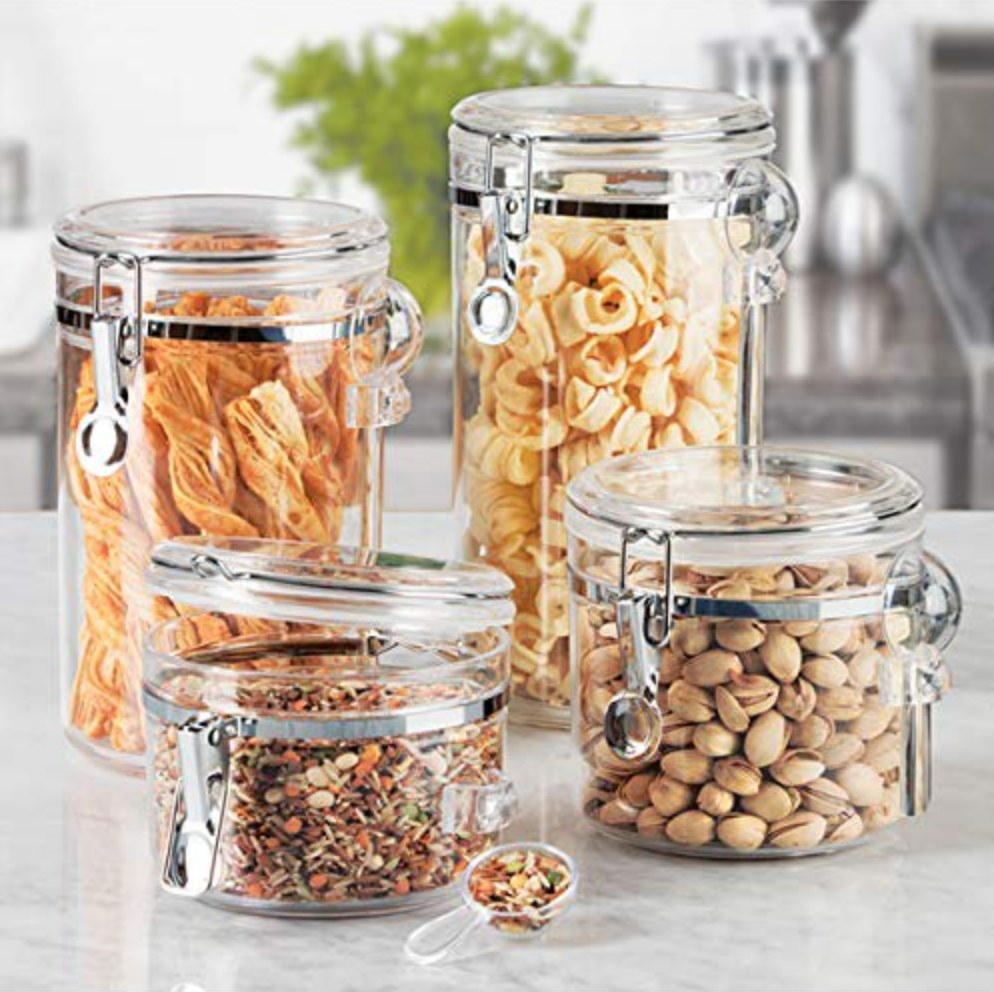 Four acrylic canister with metal latches