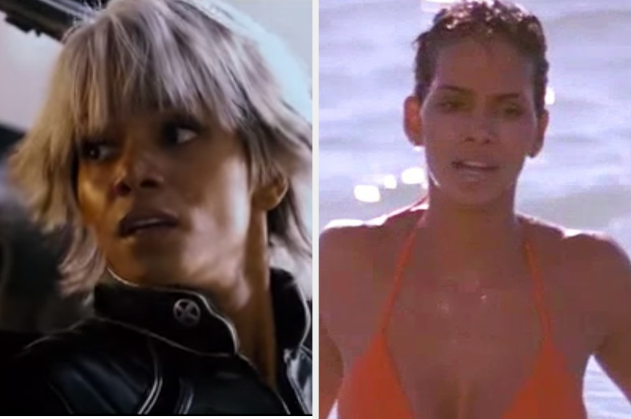 Halle Berry as Storm in X-Men and Jinx in Die Another Day