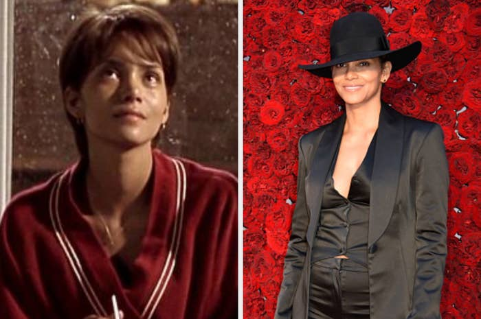 Halle Berry in Monster's Ball and at an event in 2019