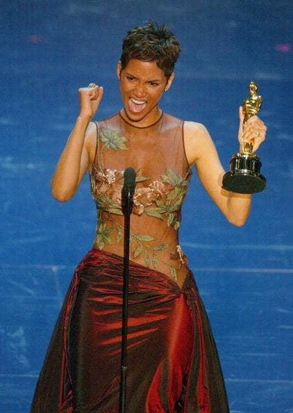 Halle Berry winning her Best Actress Oscar