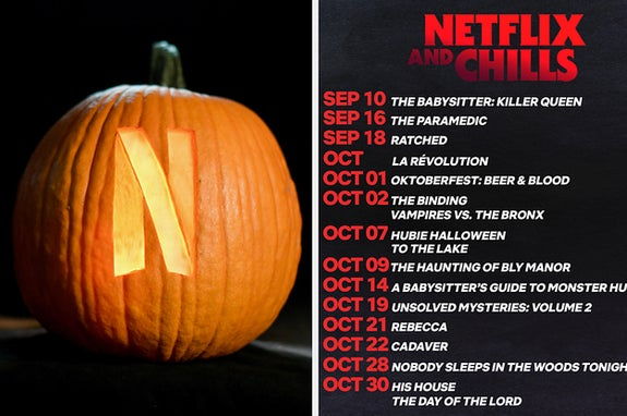 A pumpkin with the Netflix logo carved into it next to the Netflix Halloween schedule