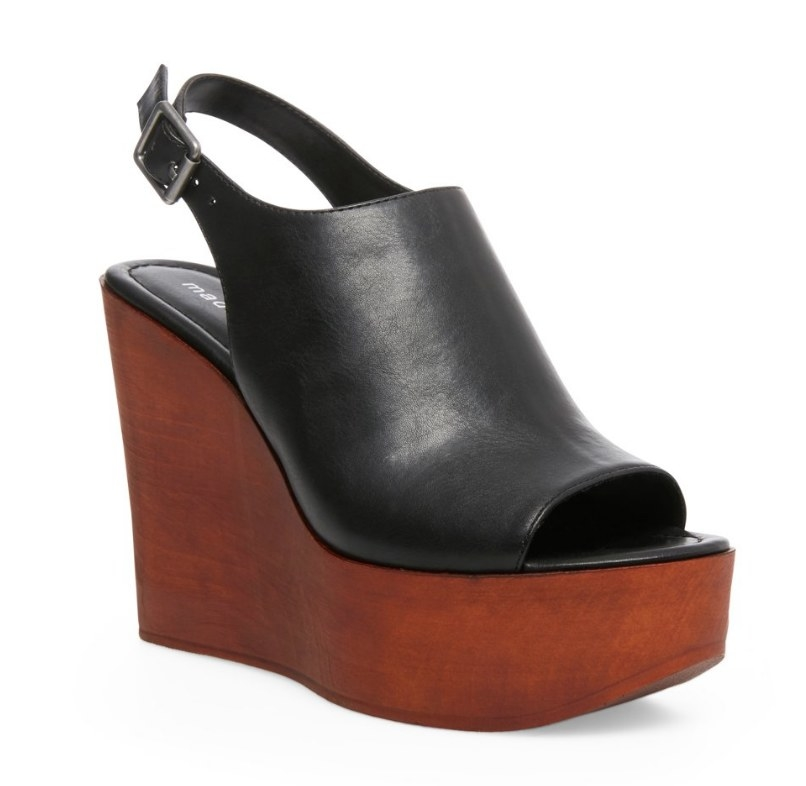 Wooden wedge heel and platform with black front