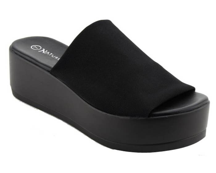 Black platform sandal with thick black strap