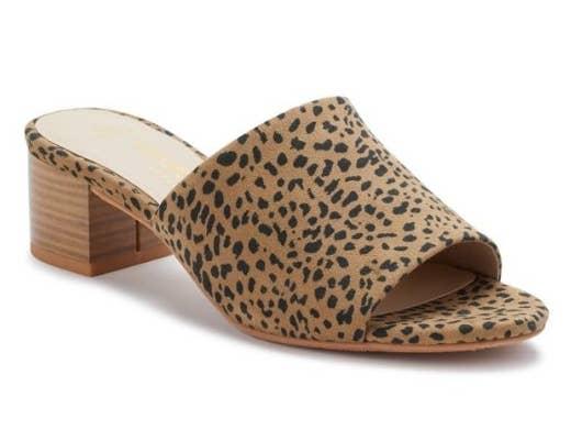 Cheetah print sandal with wooden heel
