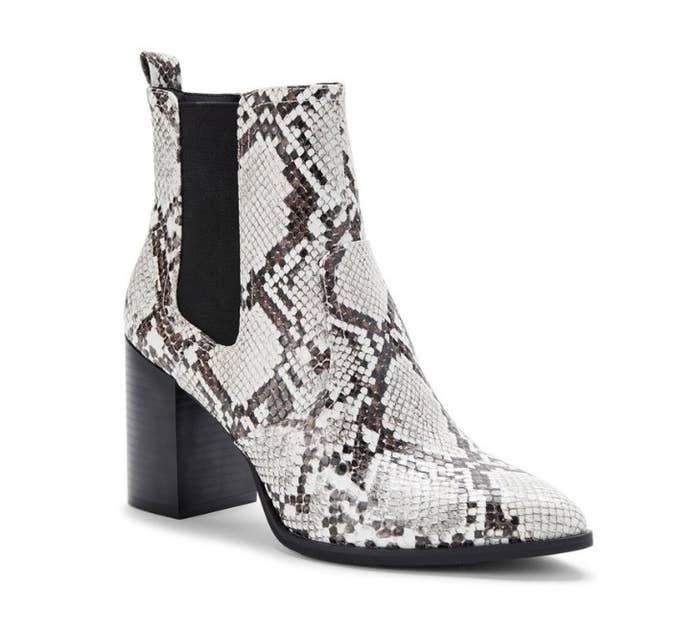 Gray snake print booties with black heel