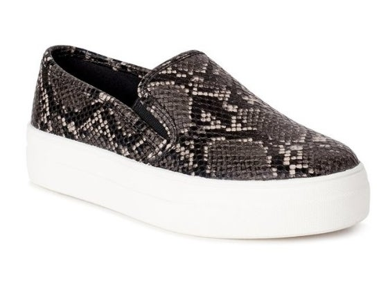 Gray and black snake skin slip-on sneakers with white platform