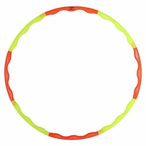 An orange and green hoola hoop.