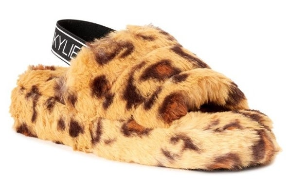Furry cheetah print, sandal slipper with black ankle sling