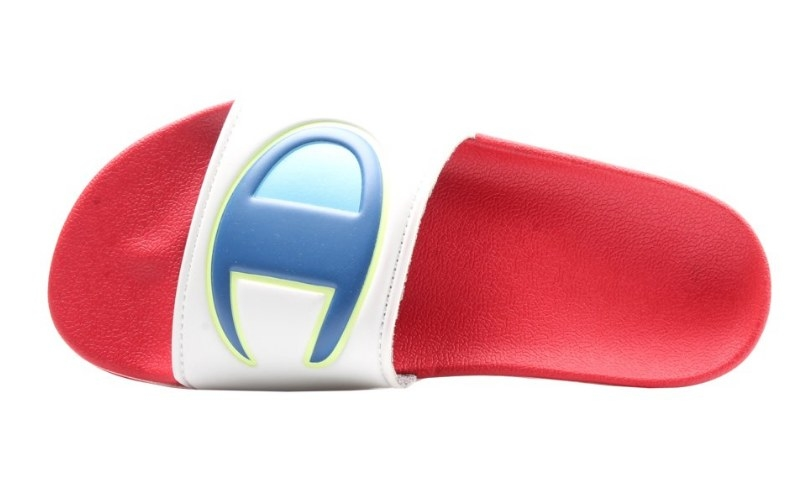 Red slide slipper with white front band and blue Champion logo