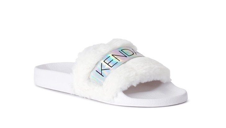 White slide with white fur top and holographic logo