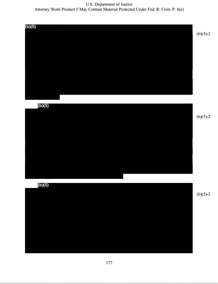 "A document page is titled ""US Department of Justice"" followed by three blacked-out sections"