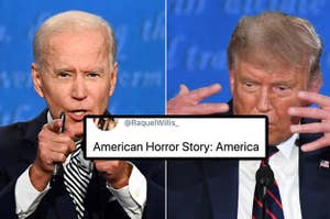 """A picture of Joe Biden and Trump, captioned, """"American Horror Story: America"""""""