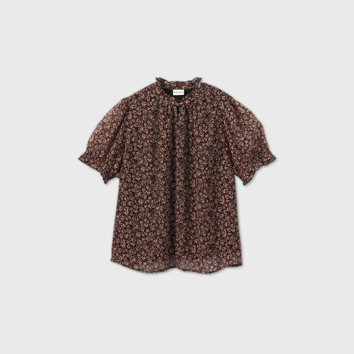 leopard print puff short sleeve blouse