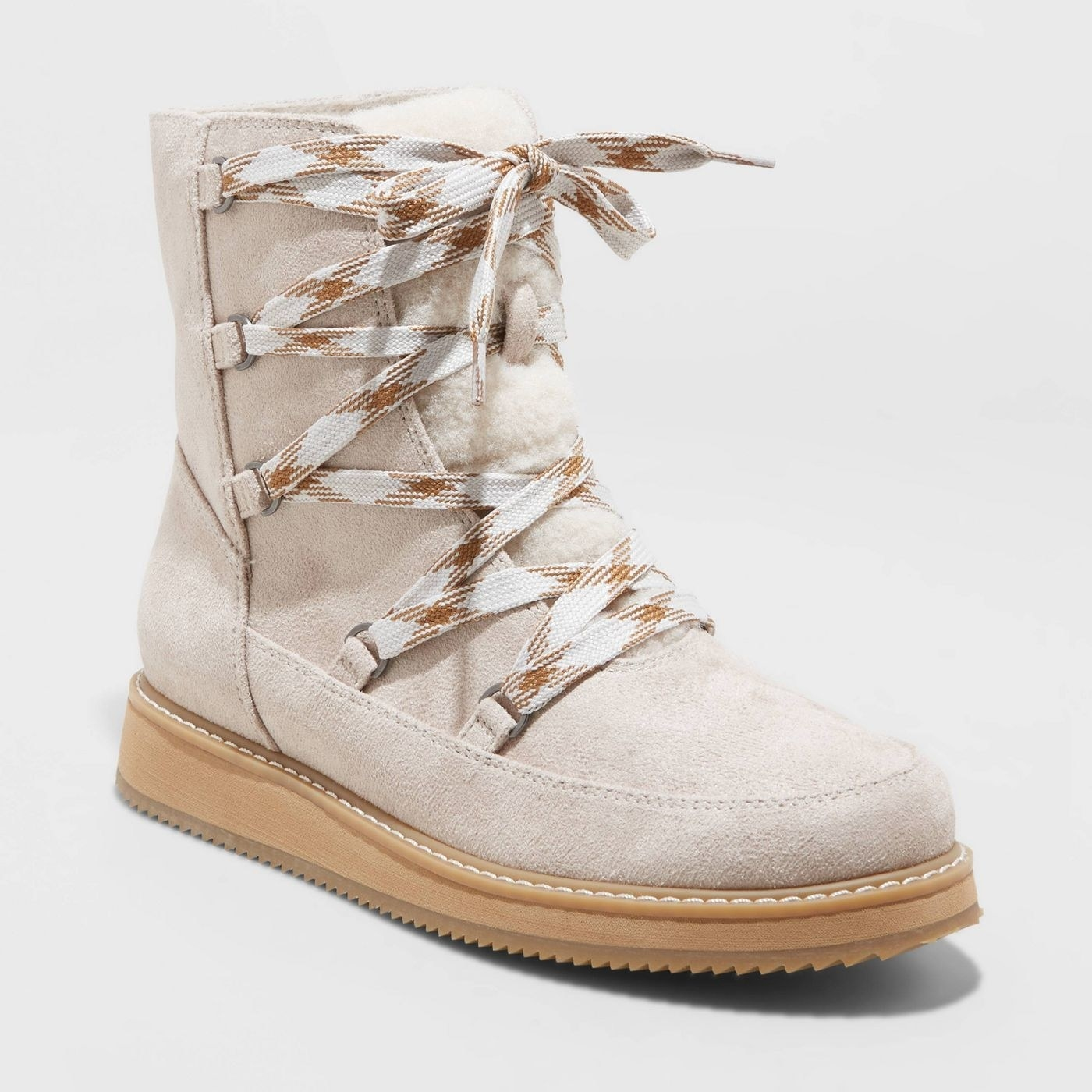 Tan lace-up hiking boots