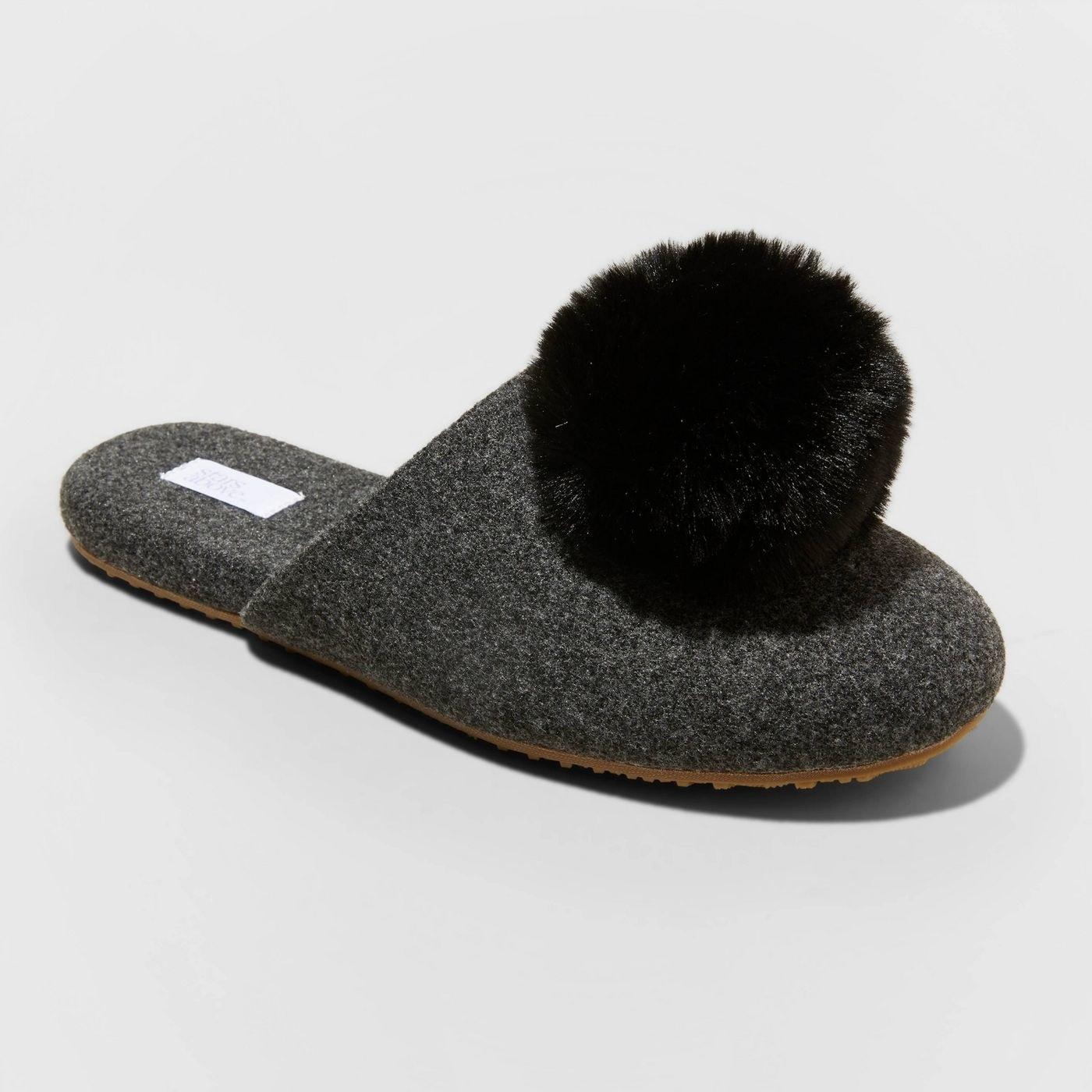 gray backless slipper with black pom pom