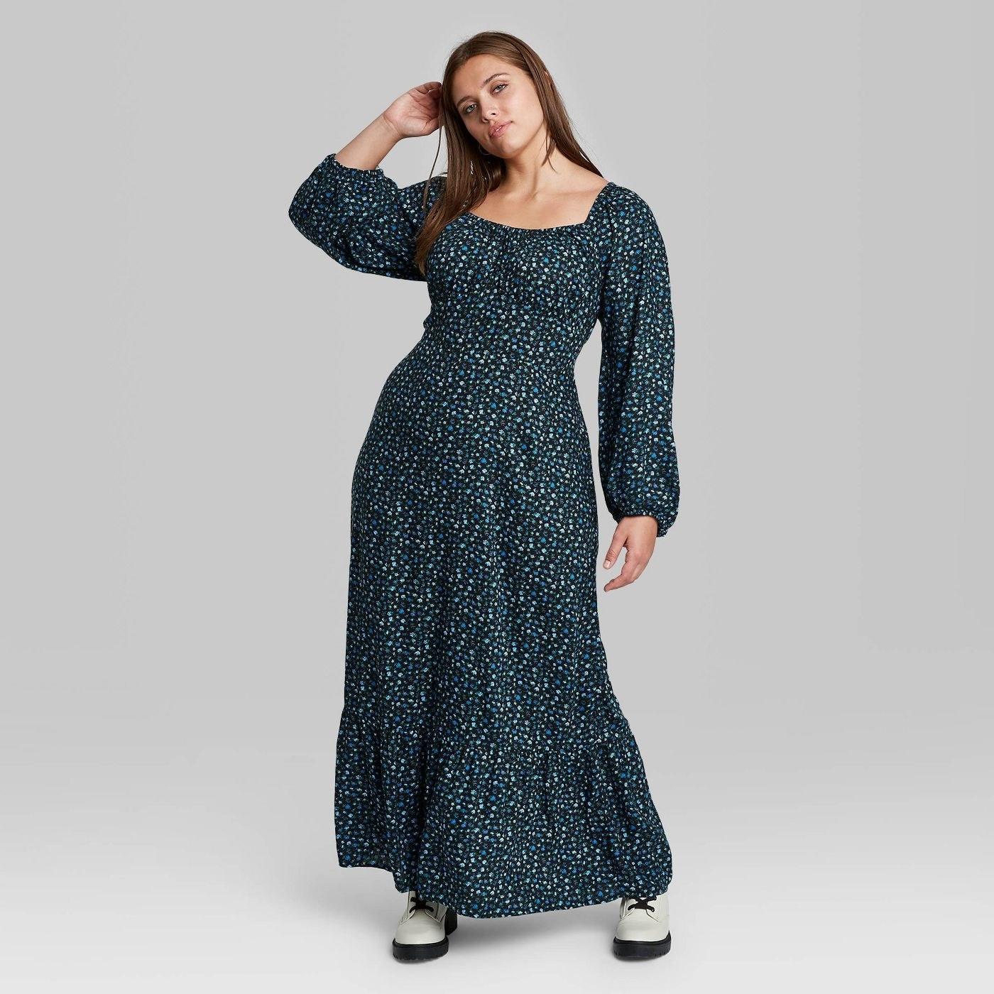 Model in floral print long sleeve dress