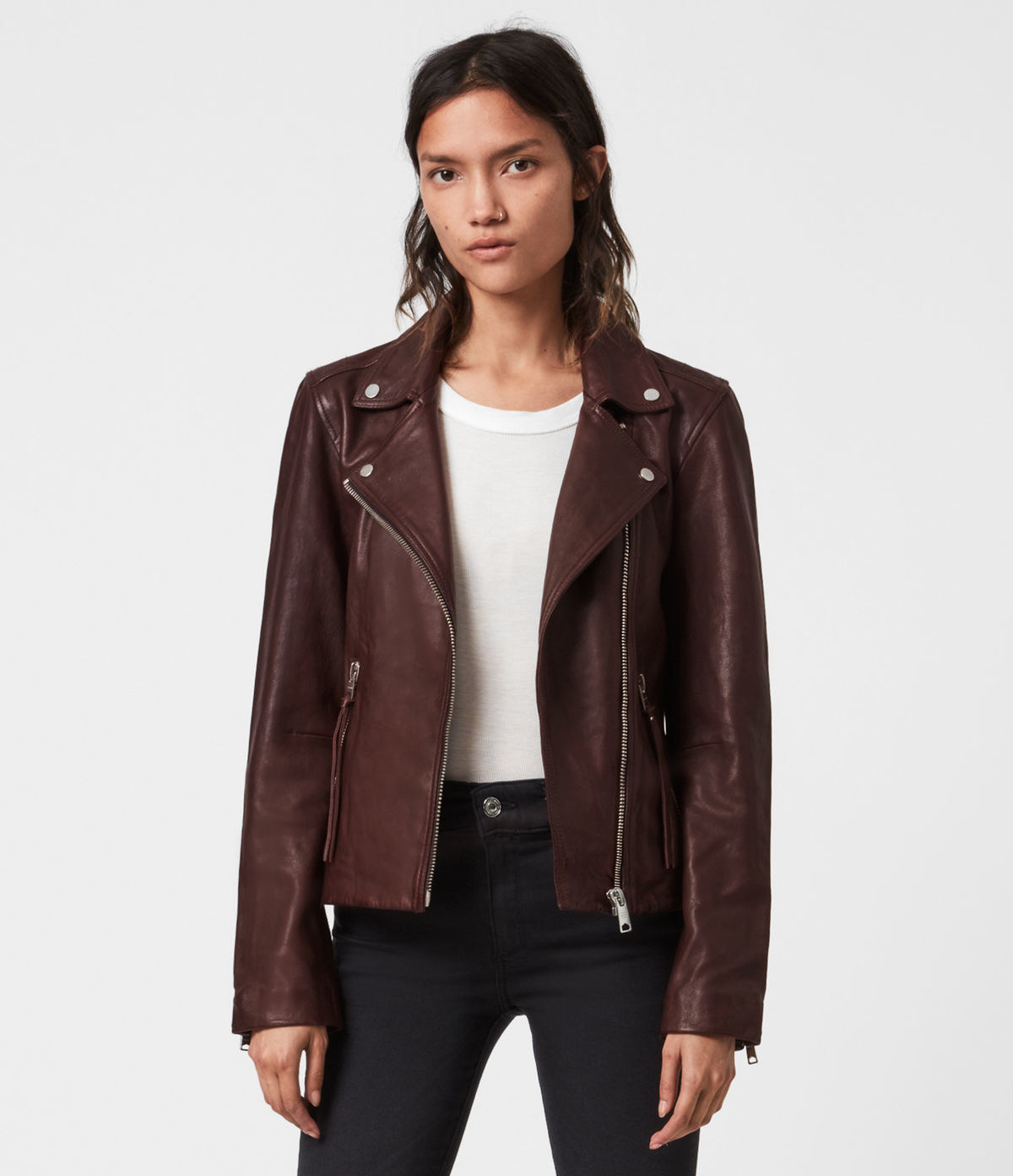 Model in brown leather jacket