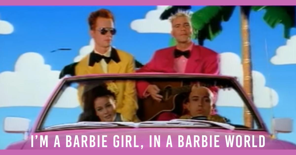 """Danish Europop music group, Aqua, in a plastic Barbie car in the """"Barbie Girl"""" music video"""
