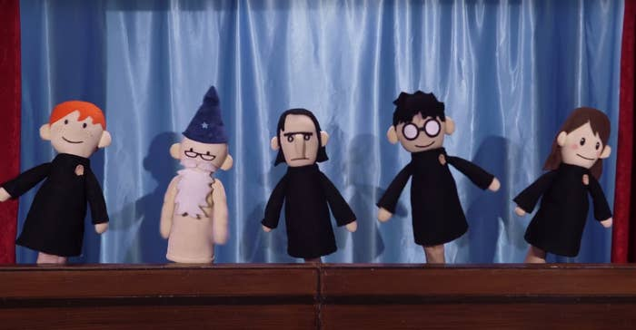 Ron, Dumbledore, Snape, Harry, and Hermione as crudely constructed hand puppets