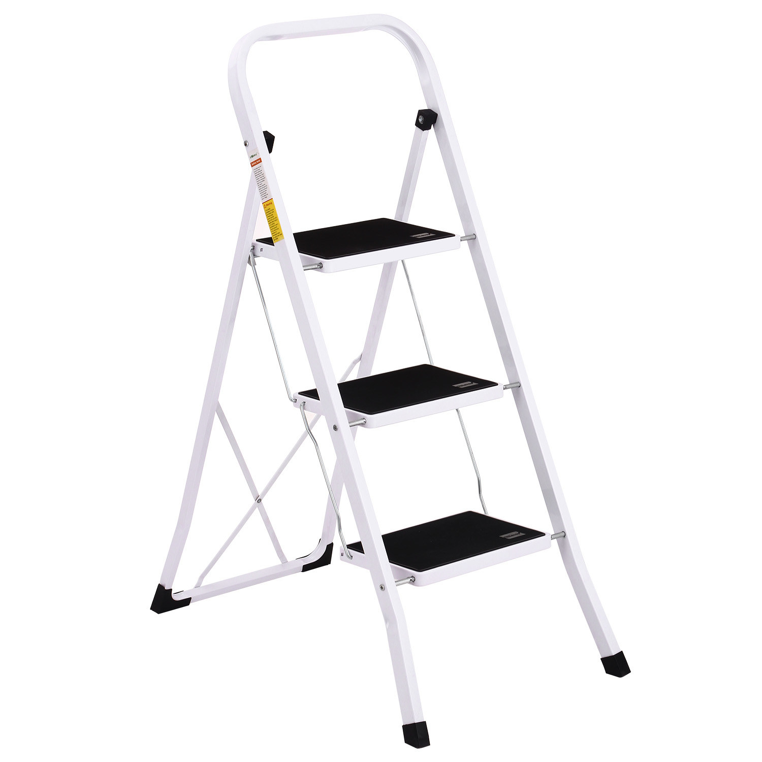 white step stool with three black steps