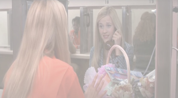 "Elle on the phone to Brooke in prison, text reads: ""so how are you? are you alright? you look so ... """