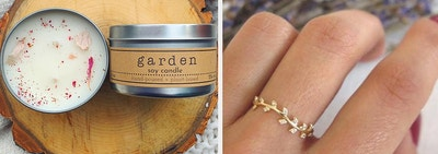 Floral candle and vine ring