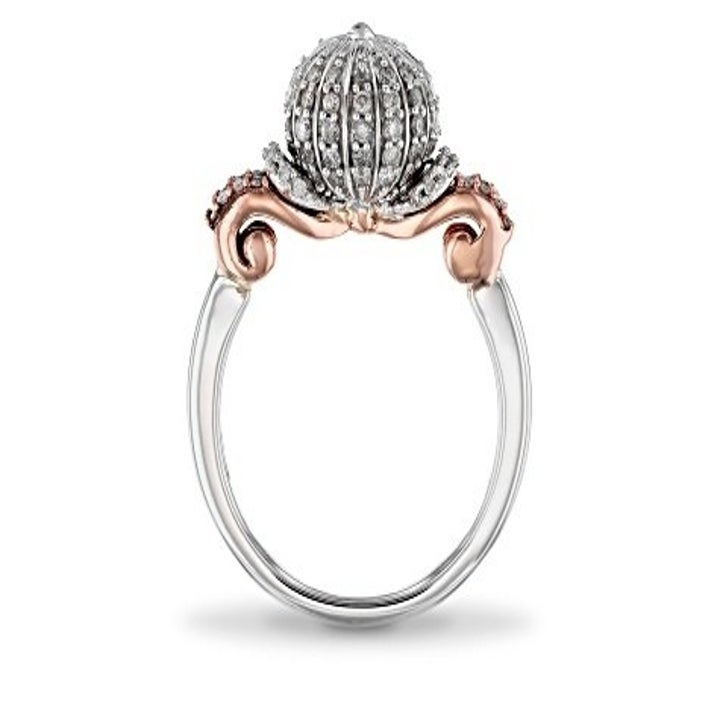 Rose and white gold ring with round diamond-covered top