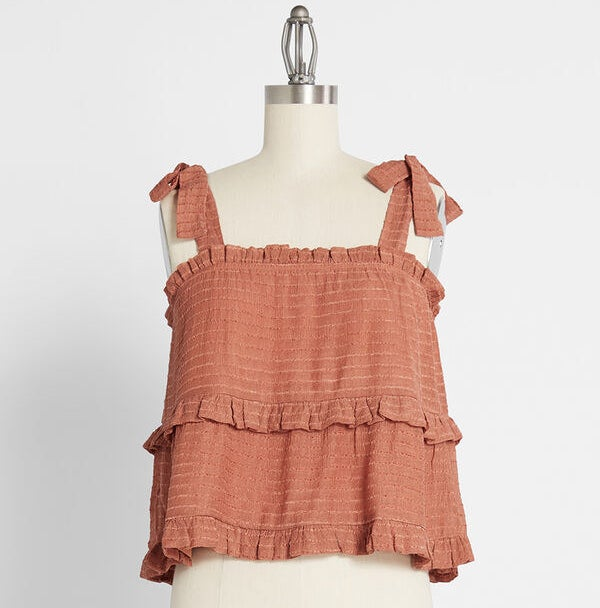 "The ""rust"" colored tiered tank top on a mannequin"