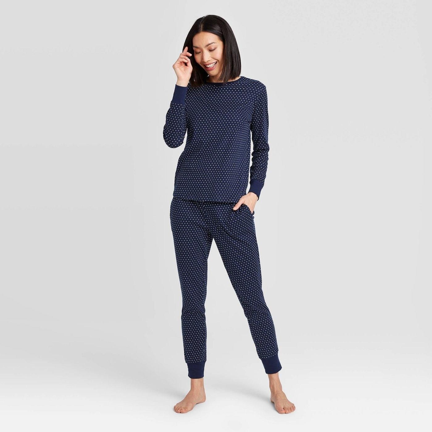 Model in polka dot pajama set