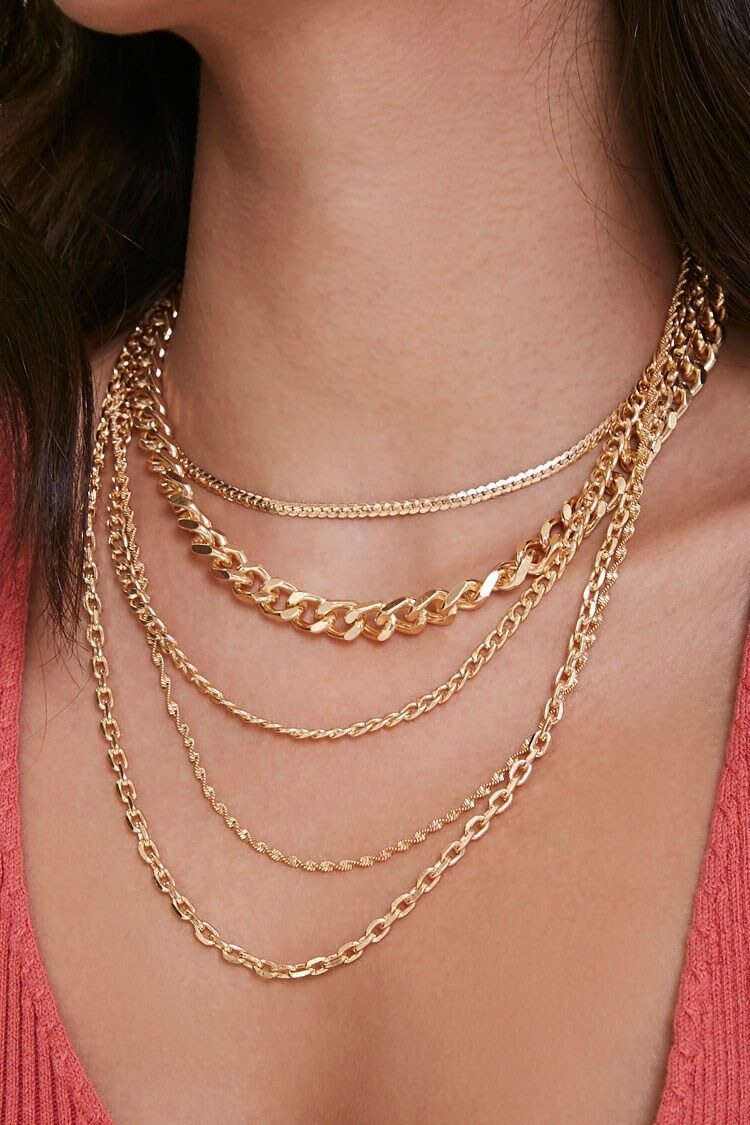 Five-chain layered necklace in gold