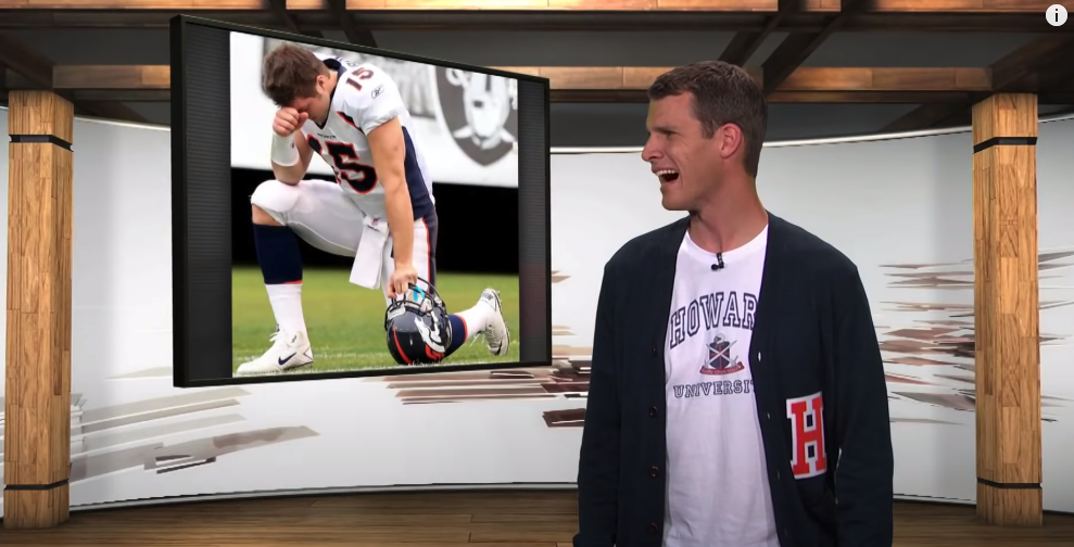 Tosh of Tosh.0 laughing at a photo of Tim Tebow bowing dramatically