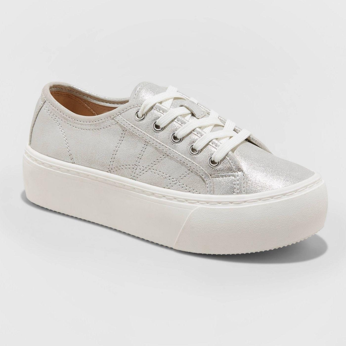 silver metallic platform lace-up sneakers