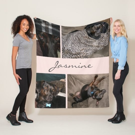 Blanket with dog's name and four photos of dog in each corner