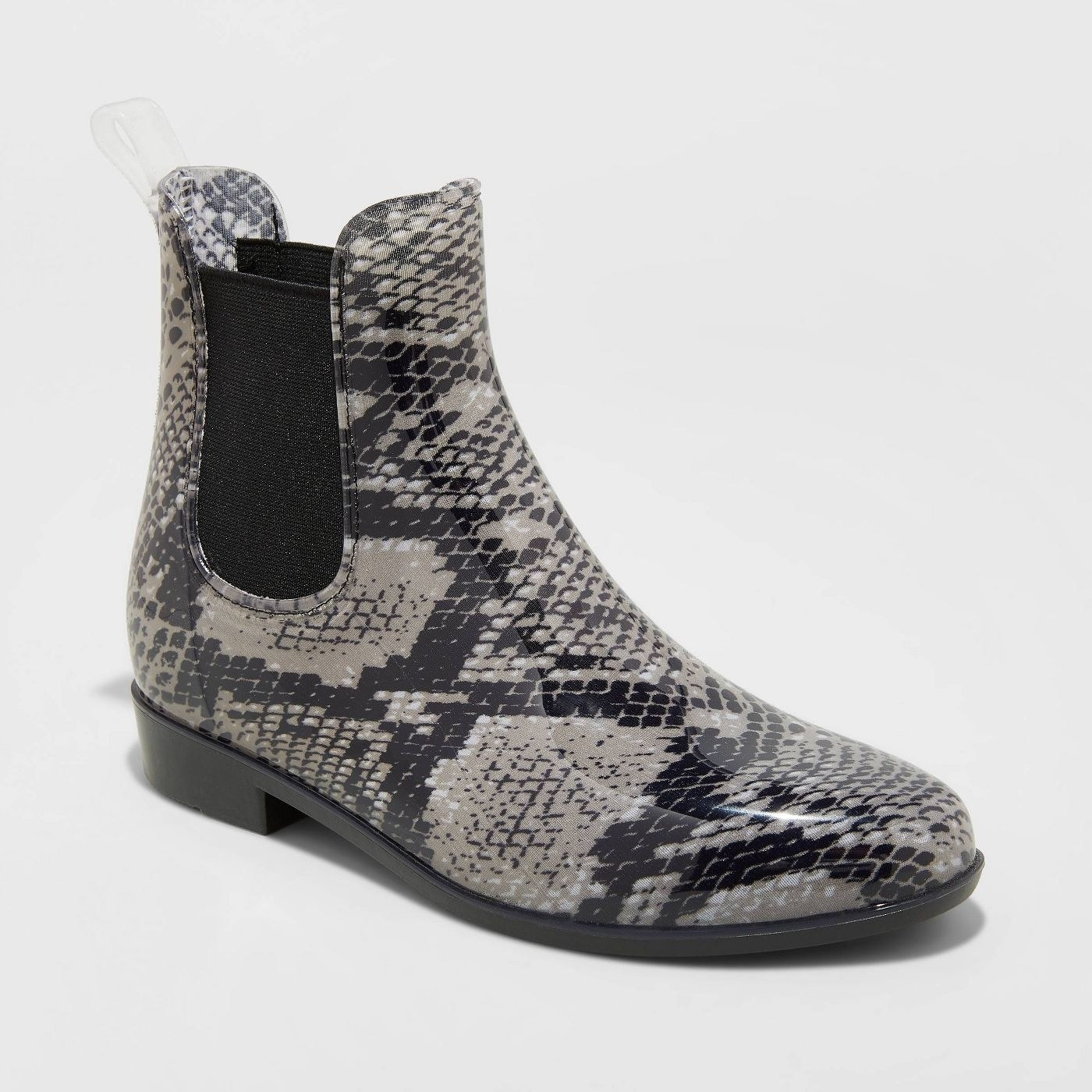 The rain boots in snake print pattern