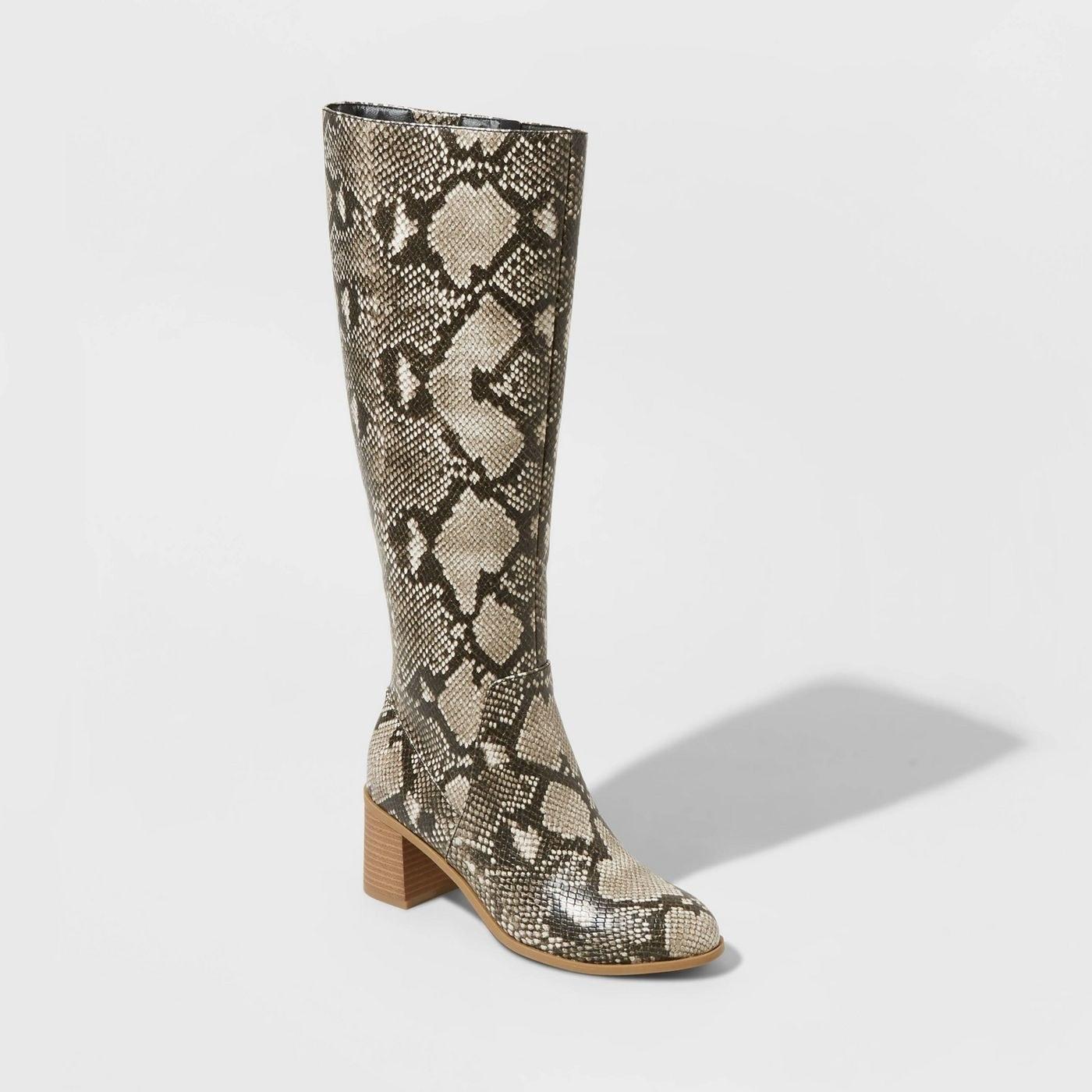 snakeskin knee high boots