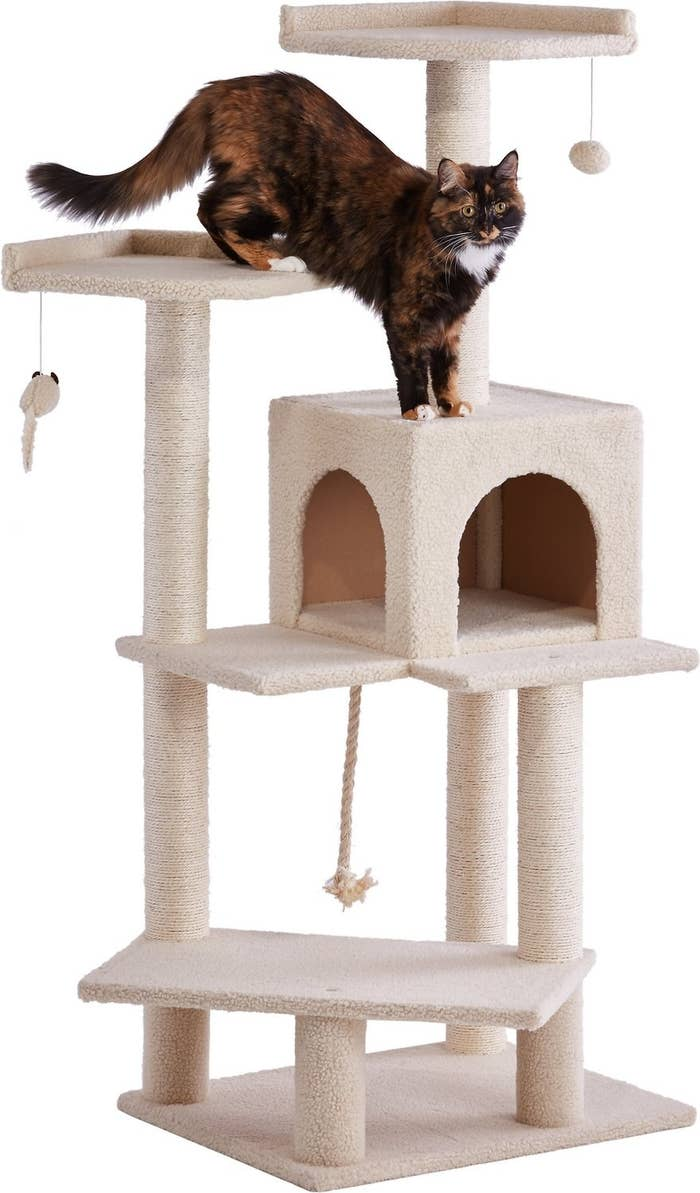 A cat plays on the cream colored Frisco 57-in Faux Fur Cat Tree & Condo