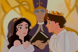 Nancy and Prince Edward from enchanted at the altar on their wedding day