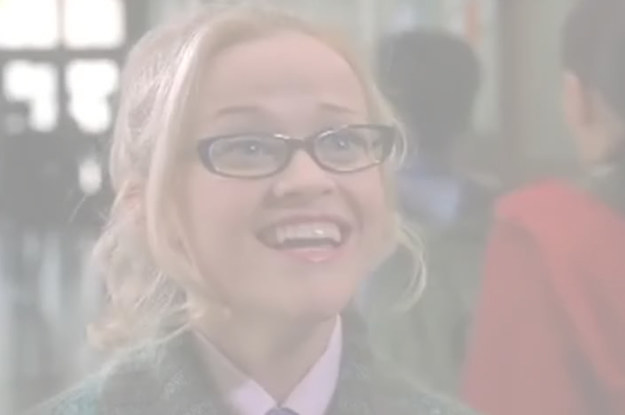 "Elle wearing glasses and looking excitedly up at Warner, text read: ""This is gonna be just like senior year, except for ..."""