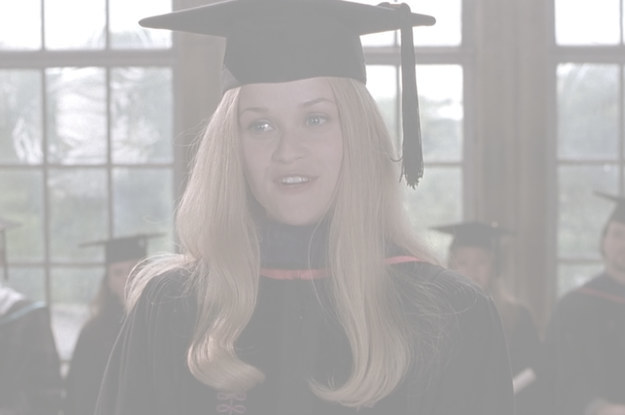 "Elle wearing graduation attire and making a speech, text reads: ""You must always have faith in ... and most importantly, you must always have faith in yourself"""
