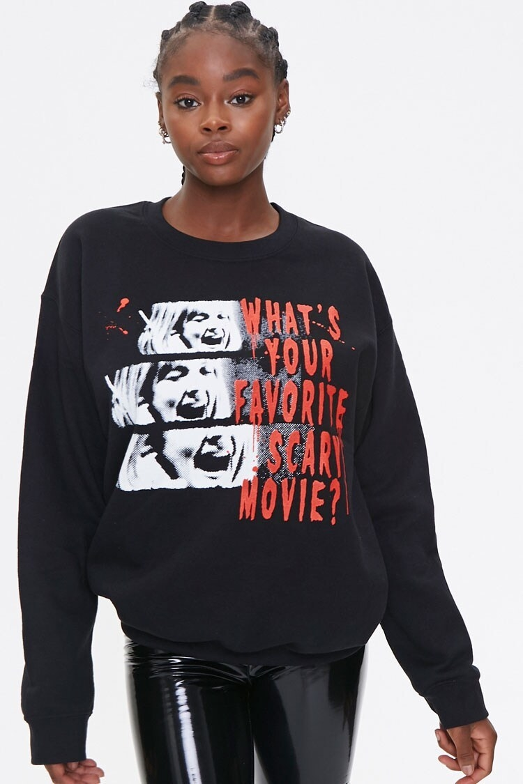 "Crew neck sweatshirt in black with images of a woman screaming and the words ""What's Your Favorite Scary Movie?"" written in red"