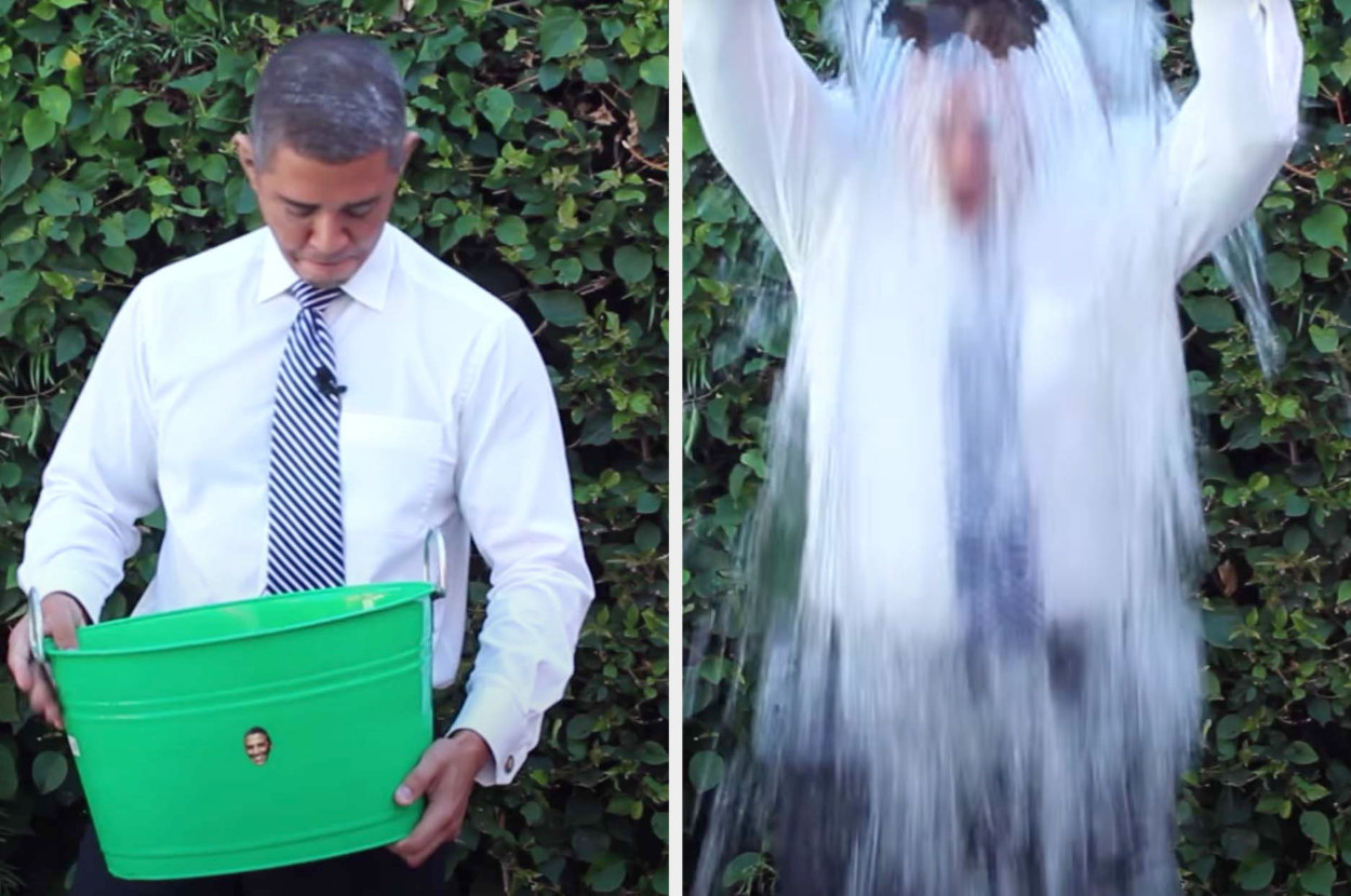 President Obama pouring a bucket of icy water over his head