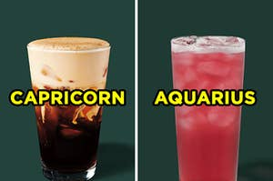 "On the left, a Starbucks Pumpkin Cream Cold Brew labeled ""Capricorn,"" and on the right, a Starbucks Iced Passion Tango Tea labeled ""Aquarius"""
