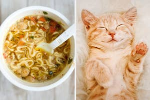 A bowl of instant ramen noodles on the left and a light-colored cat lying on it's back with it's eyes closed and its paws in the air