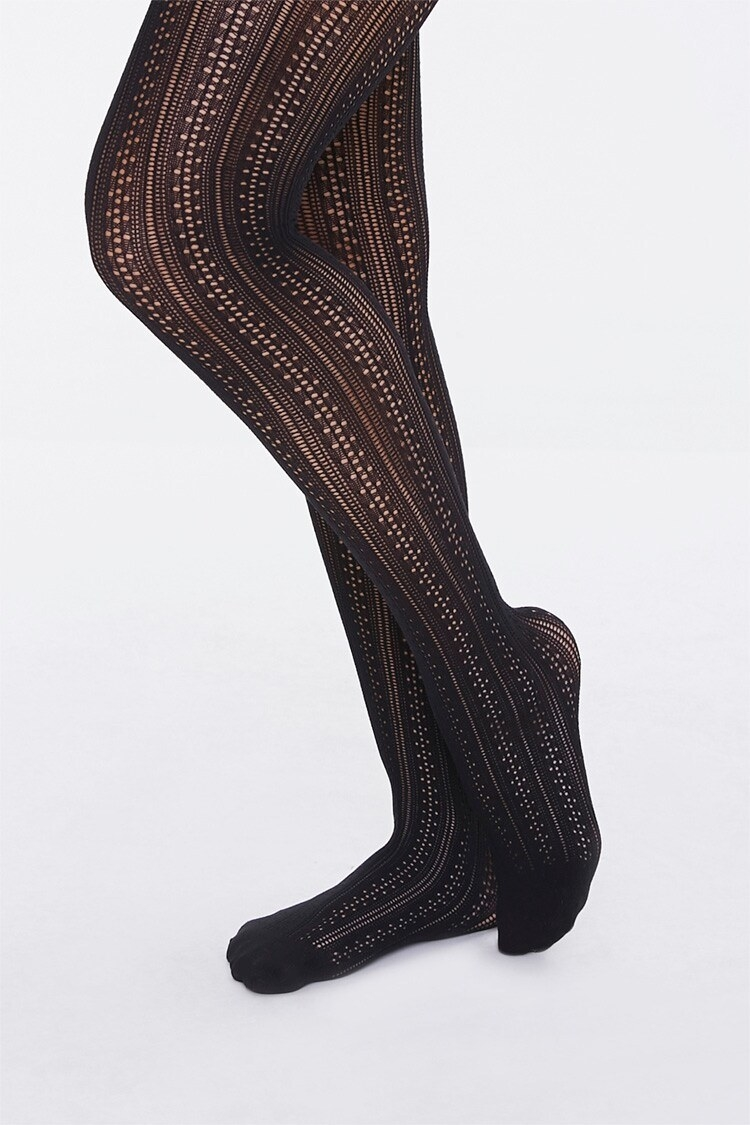 The tights with dotted vertical stripe pattern in black