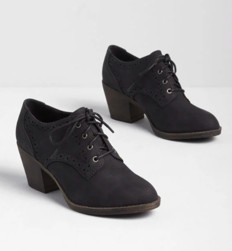 Black lace-up booties with a small heel
