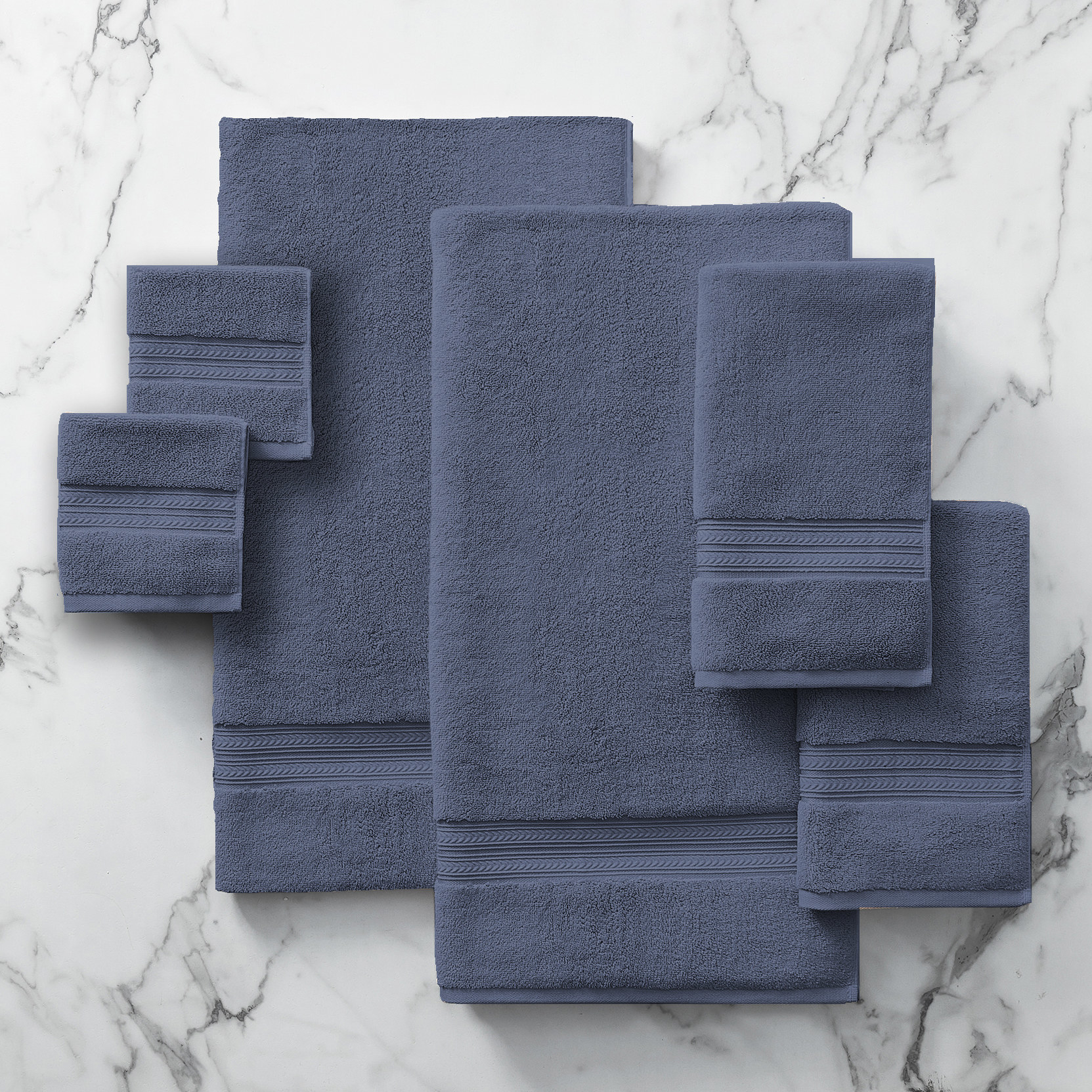 The towel set in blue