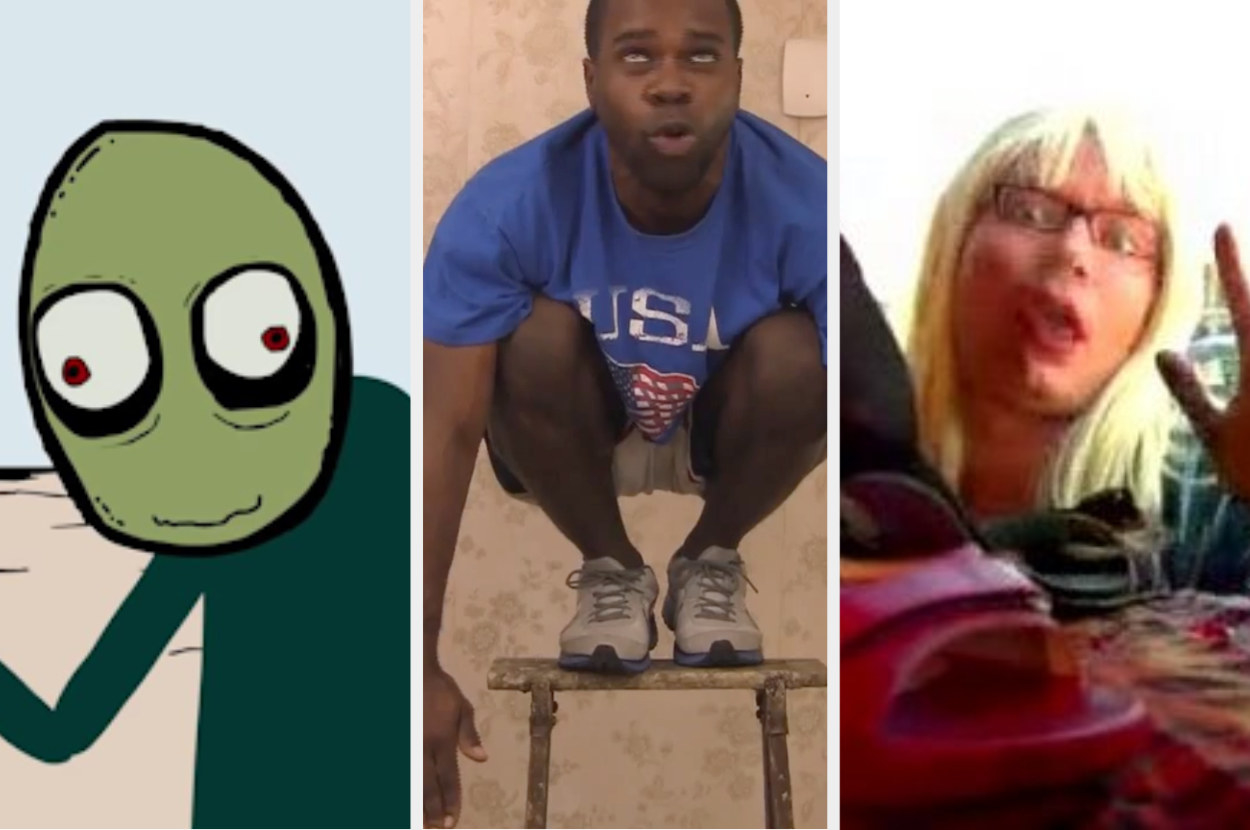 Salad Fingers, a guy owling, and Kelly looking at shoes