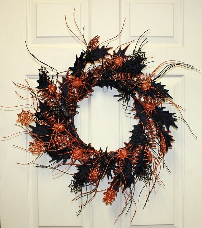 The wreath hanging on a door