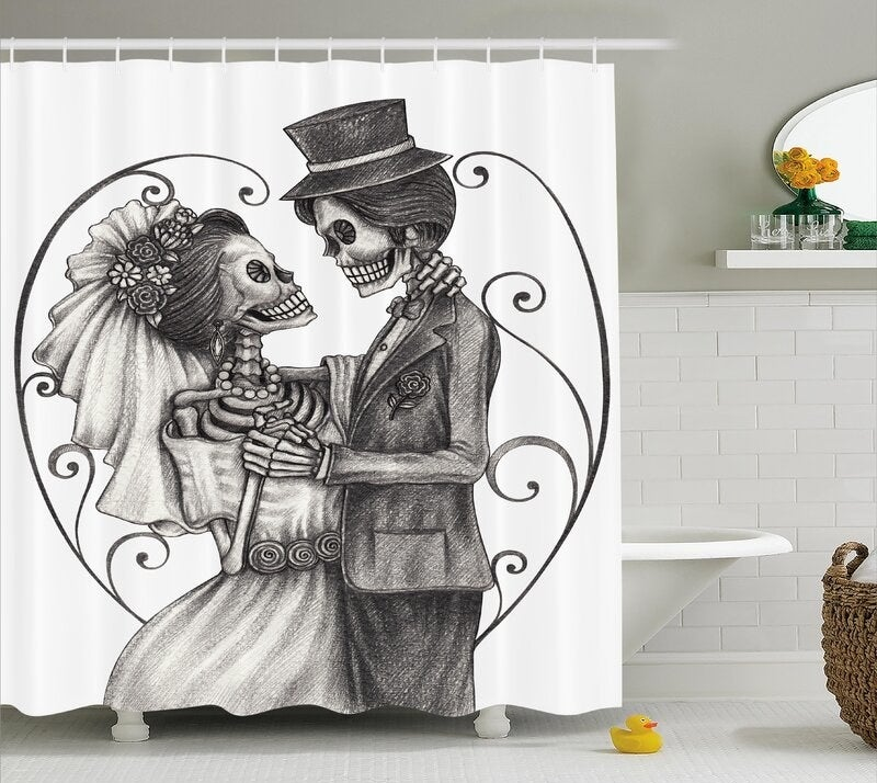 The shower curtain displayed in a bathroom