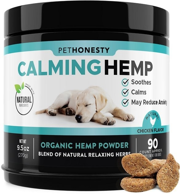 A container of PetHonesty Hemp Calming Anxiety & Hyperactivity Soft Chews Dog Supplement with a few soft chews resting against it